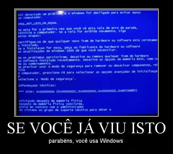 Desmotivacional Windows Tela Azul
